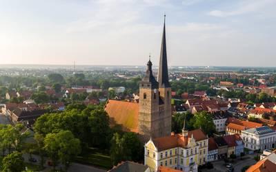 Luftbild Rathaus Burg © Stadt Burg